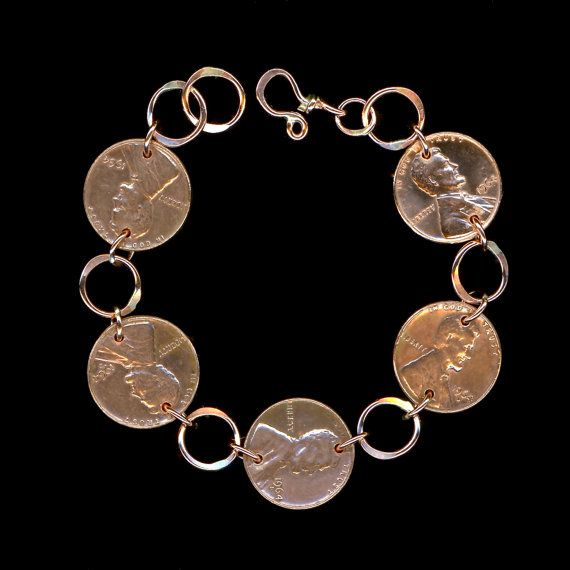 1964 Penny Bracelet 50th Anniversary Gift Coin Jewelry By