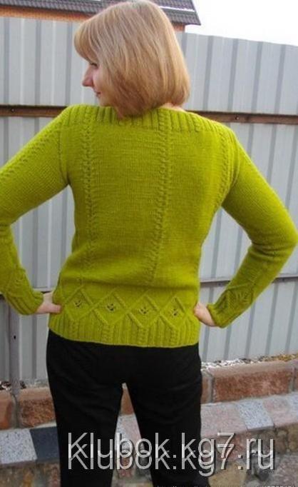 узорчатый пуловер спицами работа светланы заец вязание 1000 вязание