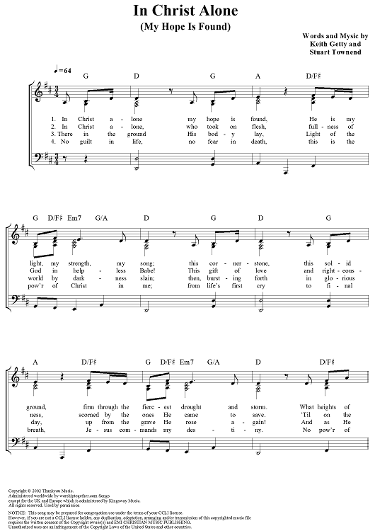 In Christ Alone My Hope Is Found Hymn Sheet Music Praise