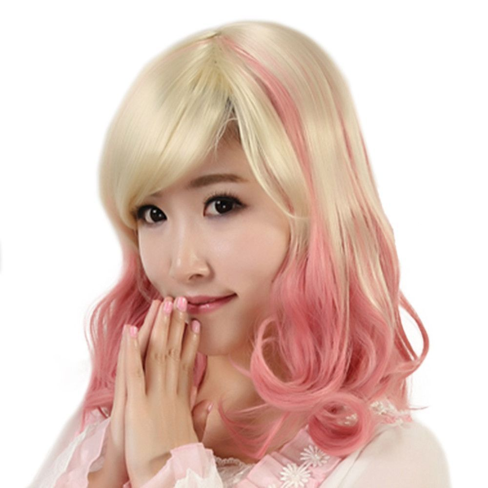 Short curled hair cap gradient ramp wig short curled hair and products