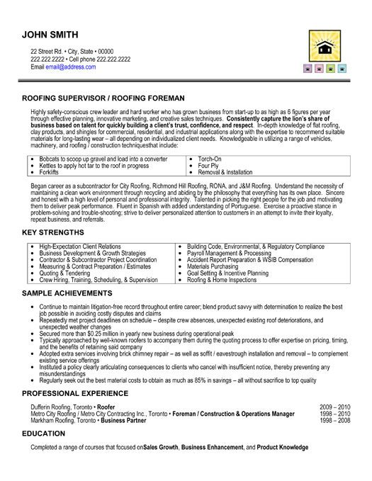 Click Here To Download This Roofing Supervisor Resume Template
