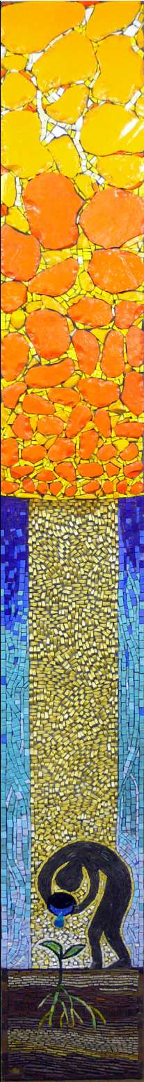 The Fifth Element - Glass smalti and ceramic mosaic inspired by Mans relationship with the environment by mosaic artist Gary Drostle ©2008