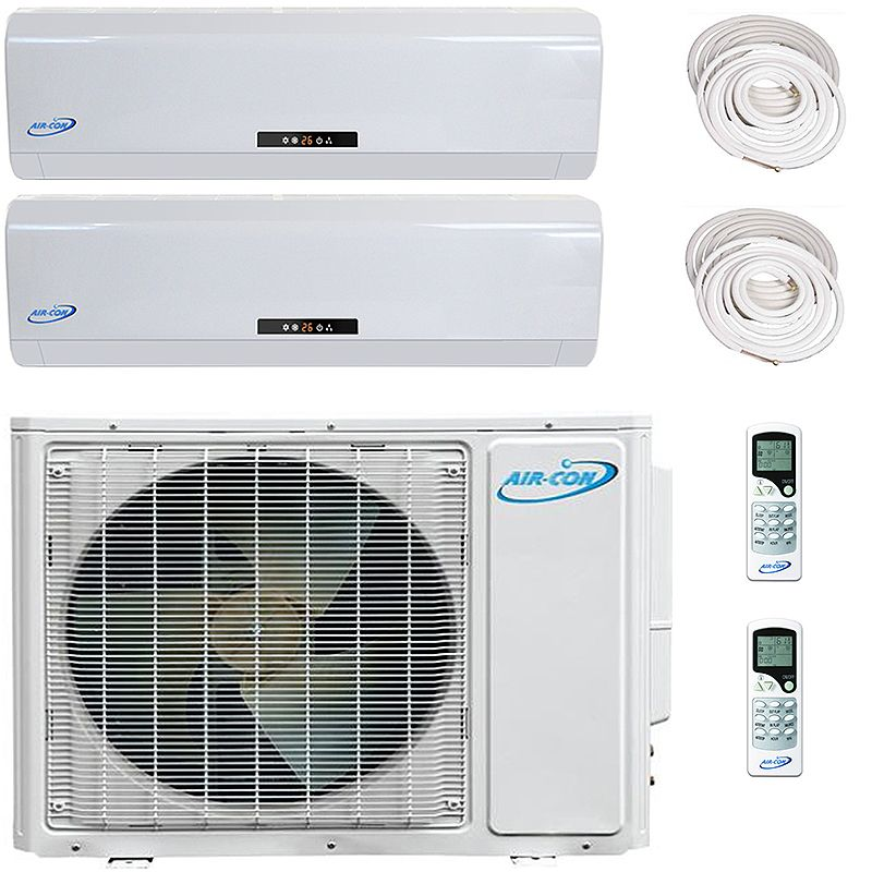 Aircon Dual Zone 12000 9000 Btu 16 Seer Mini Split Heat Pump Ac A Ductless Mini Split System Is Heat Pump System Air Conditioning System Ductless Mini Split