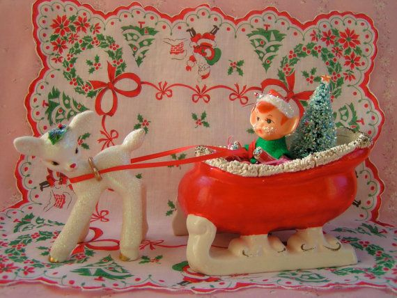 SALE...Vintage Napco Red Christmas Sleigh and by KittyKatDance