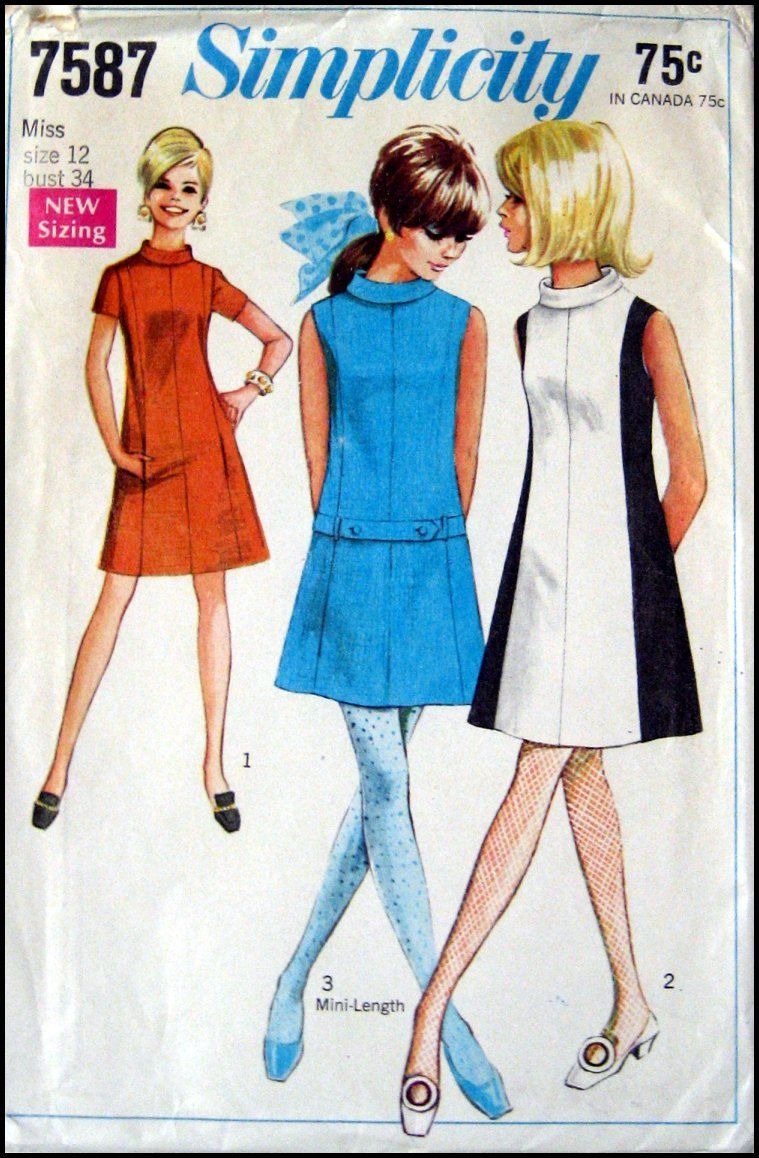 Vintage 1968 -Super Mod-Colorblock Dress- Three Style-Bias Rolled Collar-Sewing Pattern -Size 12- Rare