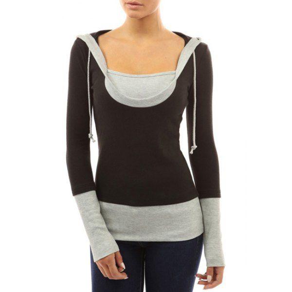 Casual Color Block Slimming Long Sleeve Hoodie For Women