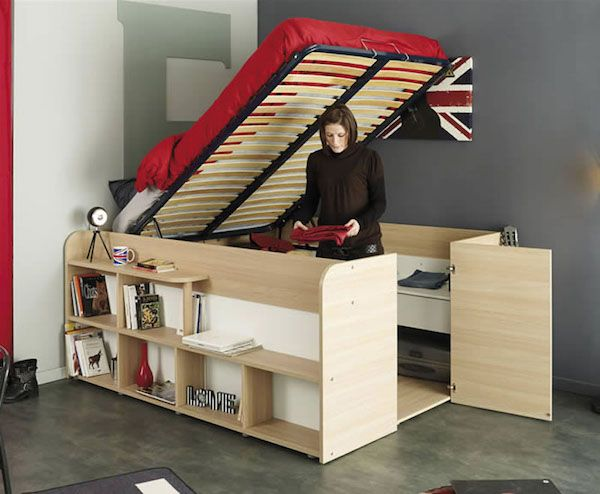 Space Saving Bed Unit For Small Bedrooms Opens Up To Reveal Wardrobe Area Designtaxi Com Cabin Bed With Storage Bed In Closet Bed Storage