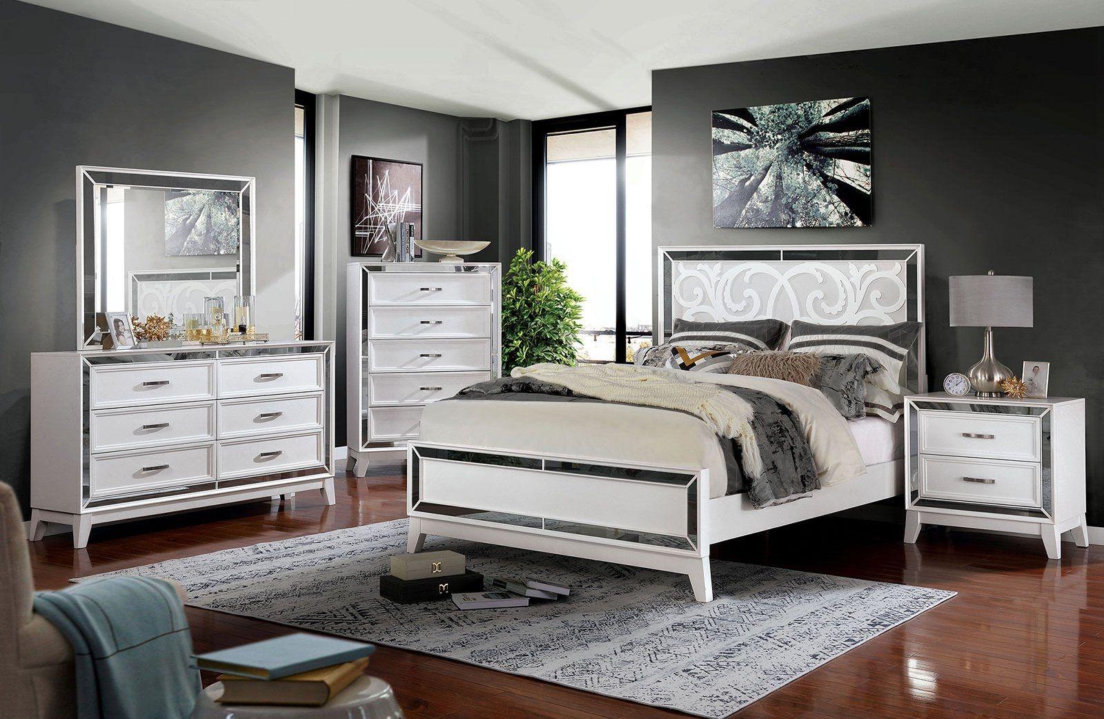 Furniture Of America Lamego White/mirrored Contemporary
