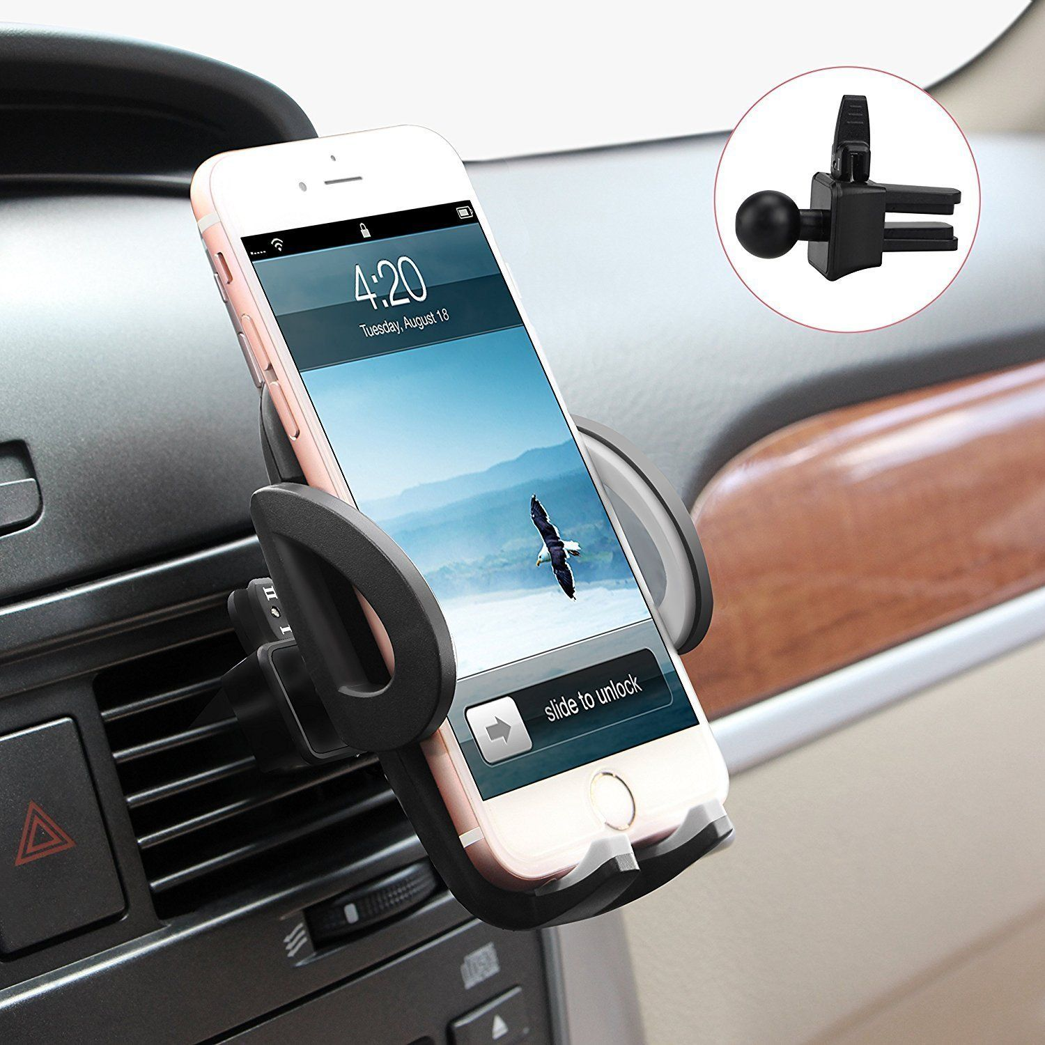 Smartphones Car Air Vent Mount Holder Cradle Compatible with iPhone 7 7 Plus SE 6s 6 Plus 6 5s 5 4s 4 Samsung Galaxy S6 S5 S4 LG Nexus for Sony for Nokia and More Black