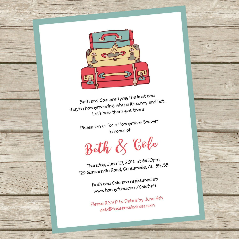 Printable Honeymoon Shower Party Invitations, 5x7