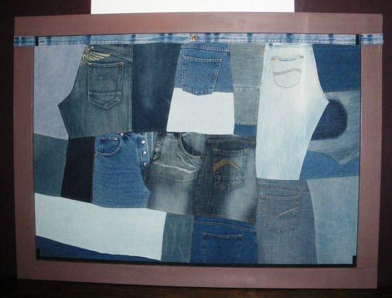 t te de lit en patchwork de jean recycl s custumiser pinterest denim recycl patchwork et. Black Bedroom Furniture Sets. Home Design Ideas