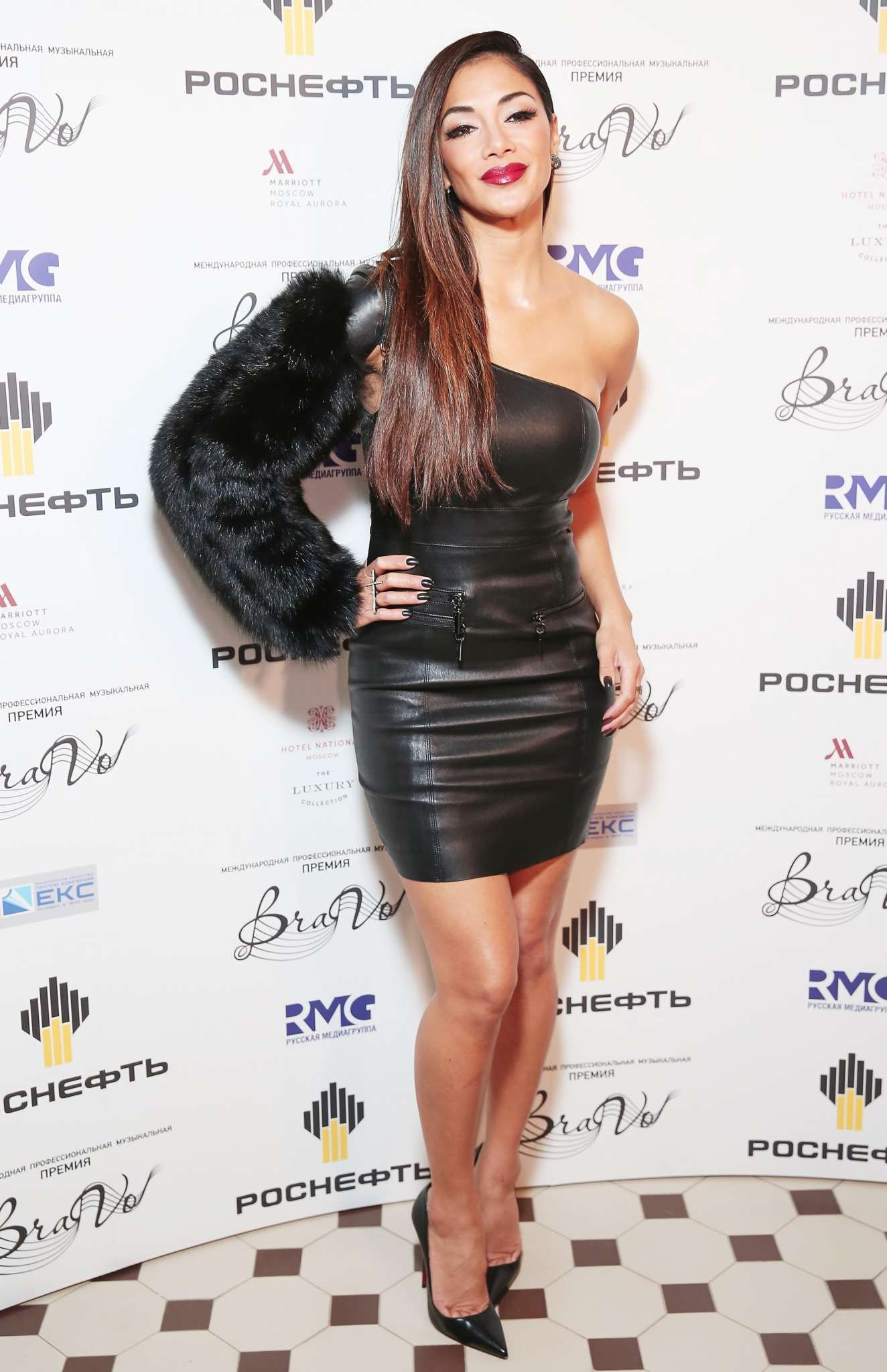 Nicole Scherzinger Wowed In A Black Leather Dress And High Heels Moscow