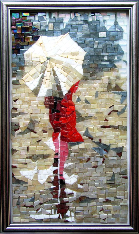 Handcut glass mosaic picture 'Women in red'