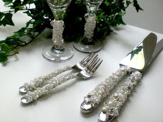 Wedding Cake and Knife Serving Set, Champagne Flutes, Dessert Forks, with Freshwater Pearls and Crystals by BlingForTheTable I HAVE SOME SIMILAR TO THIS NOT AS BLINGED ----