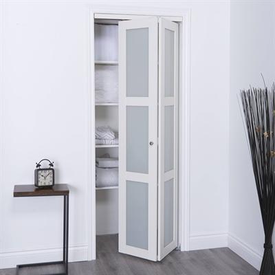 Reliabilt 24 In X 80 In Off White Frosted Glass Closet Door In 2020 Bifold Doors Makeover