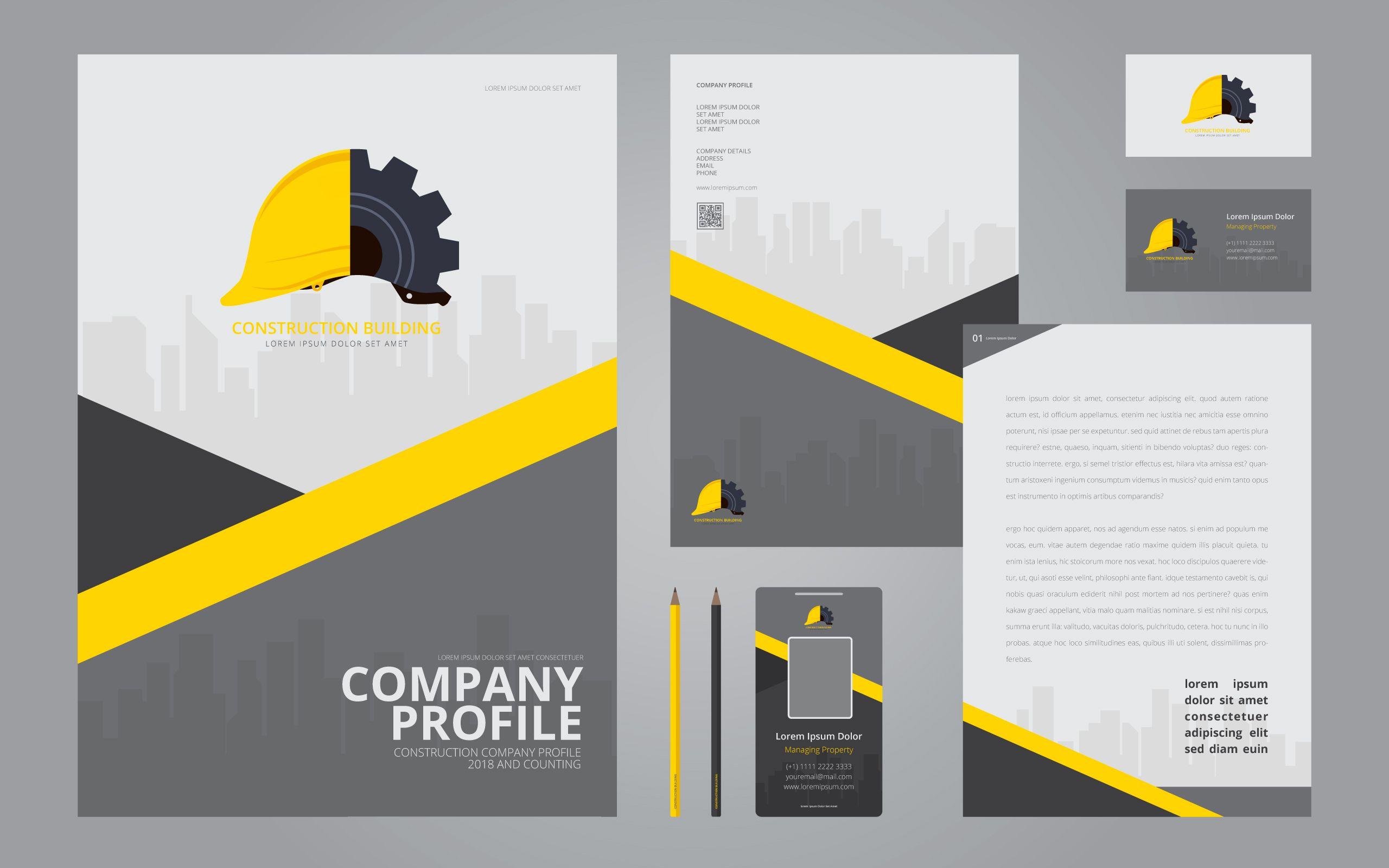 Construction Logos In Stationery Set Media Construction Company