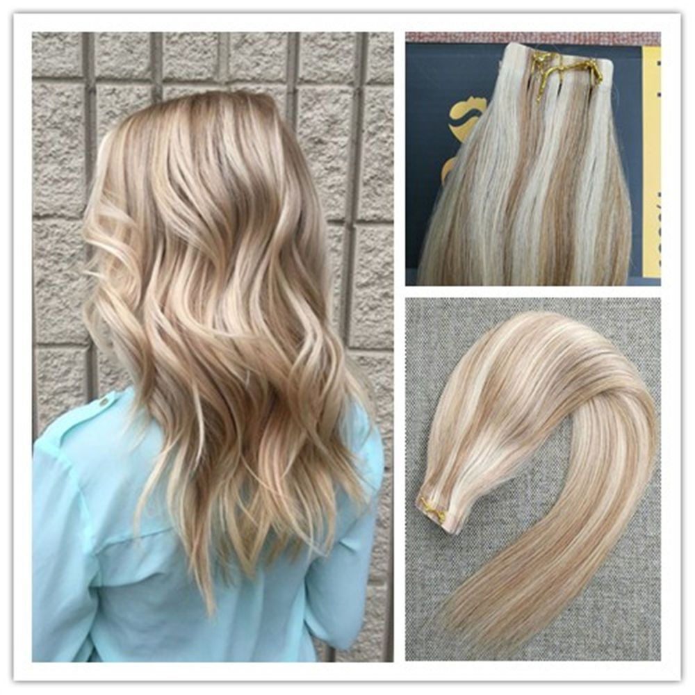 Hot Balayage Honey Blonde Highlight Remy Seamless Tape In Human