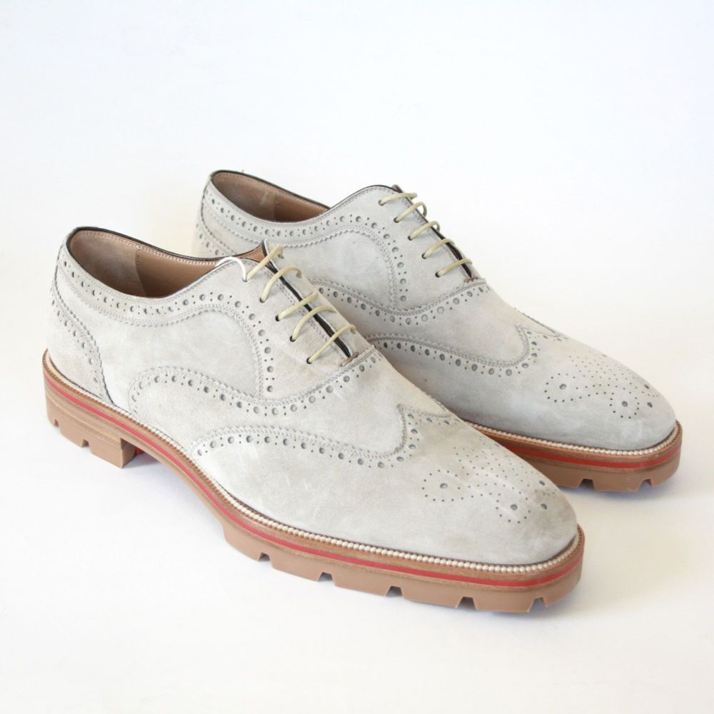 a36fceda4b6 CHRISTIAN LOUBOUTIN mens suede Charlie Me oxford brogue wingtip ...