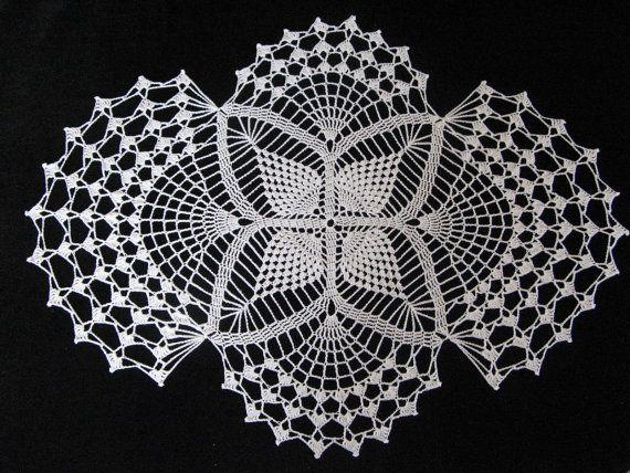 Crochet 26 x 20 inch white oval doily   Pinterest   Crochet, Etsy ...