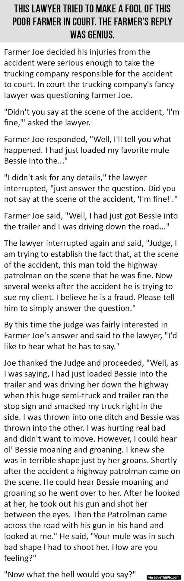This Lawyer Tried To Make A Fool Of This Poor Farmer In Court But The Farmer's Reply Is Priceless