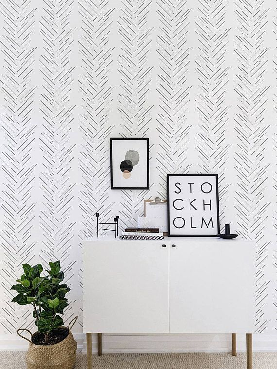 Herringbone Wallpaper Monochrome Removable Self Adhesive