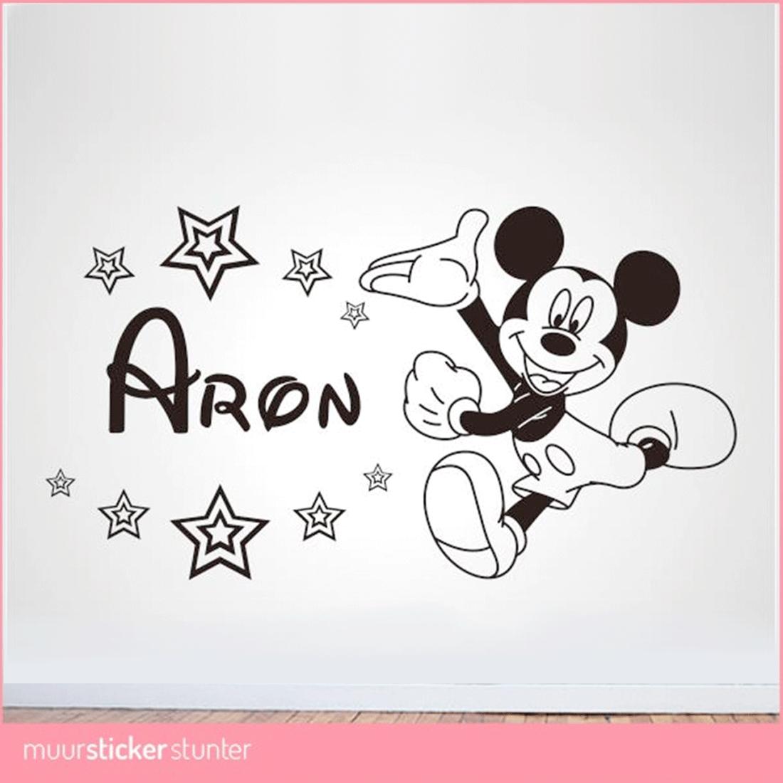 Naamstickers Muur Babykamer.Mickey Mouse Naam Muursticker Eigen Kleur Naam Formaat