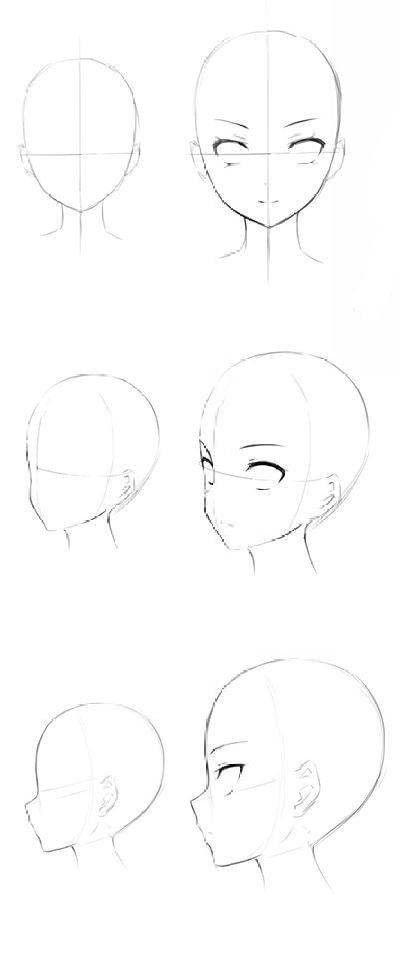 Ych Estilos De Lados Rosto Anime Sketch Drawing Heads Drawings