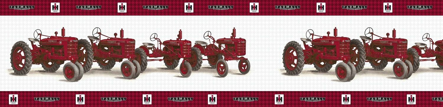 Vintage farmall tractor line up wallpaper border tractor for International harvester wall decor