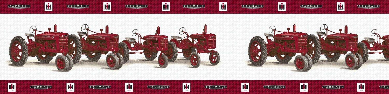 Vintage Farmall Tractor Line Up Wallpaper Border Wallpaper