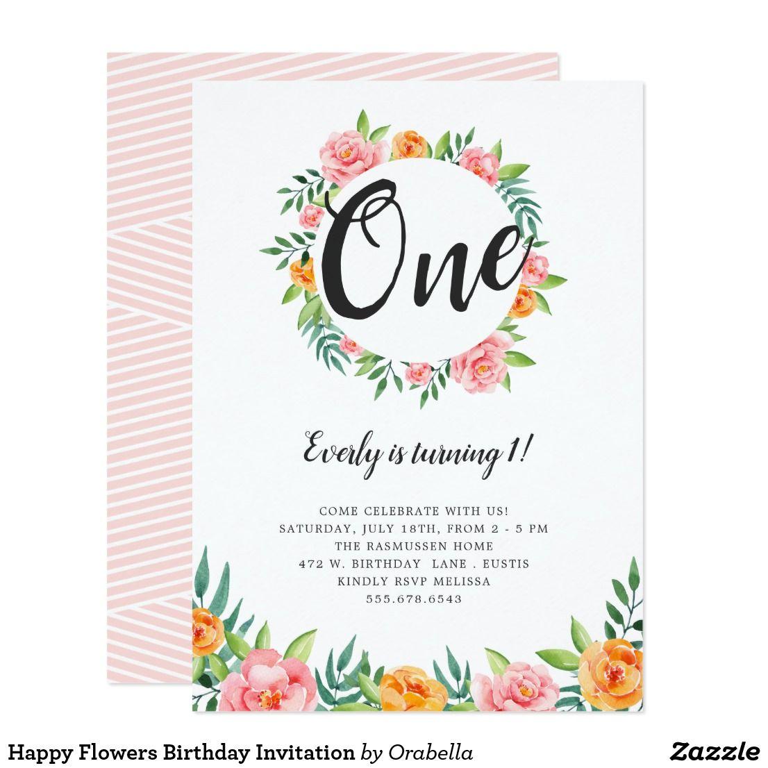 Happy Flowers Birthday Invitation | Flower birthday and Birthdays