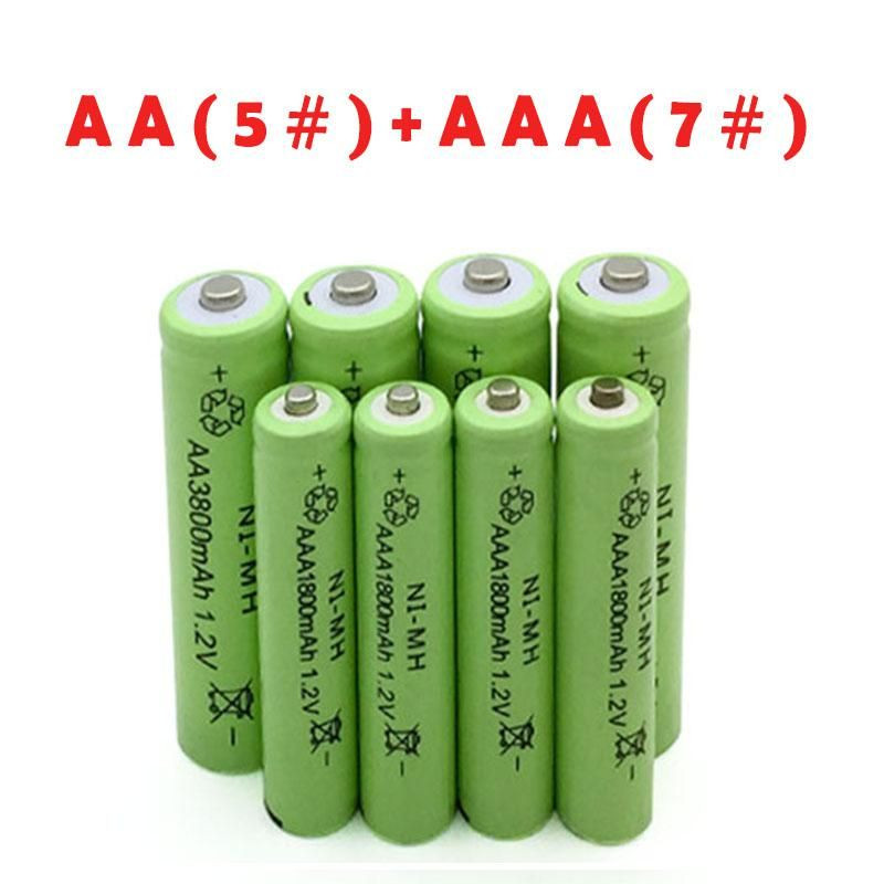 8pcs 3800mah Aa Rechargeable Battery 8pcs Aaa 1800mah Rechargeable Ni Mh 1800mah 1 2v 2a 3a Rechargeable Batteries Rechargeable Batteries Nimh Battery Packing Light