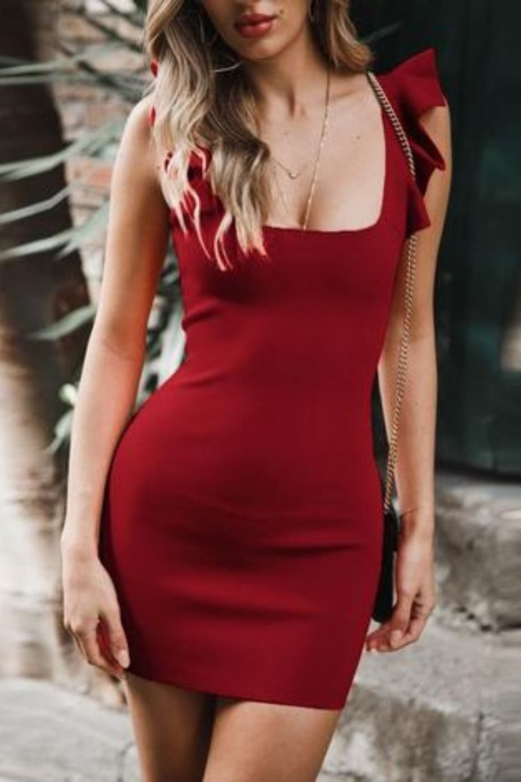 5c9527409c WOMEN'S RUFFLE SLEEVELESS BODYCON MINI DRESS: This chic sleeveless ...
