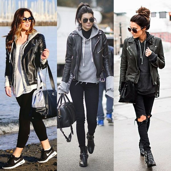 c7933ce2c1 Look  1) Legging preta + Tenis Nike + Moletom cinza com T-shirt branca +  Jaqueta de couro preta + Óculos escuro. 2) Calça…
