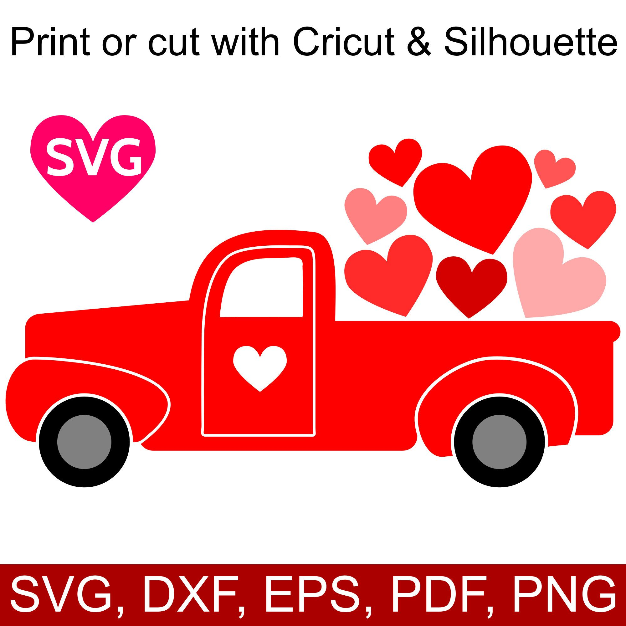 Love Truck Svg File For Valentine S Day Cards And Gifts