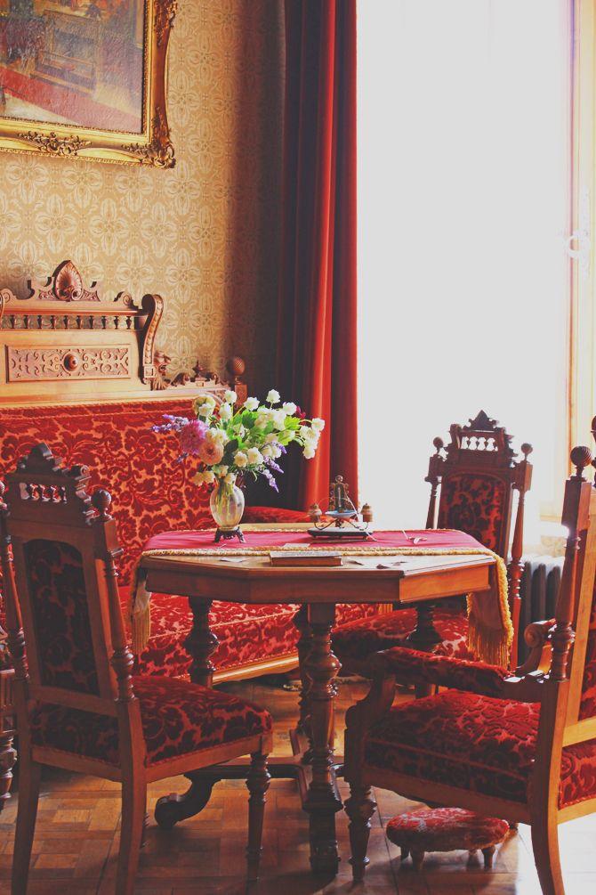 Castle Interior Design Set red velvet settee and dining set at drachenburg castle | gilded