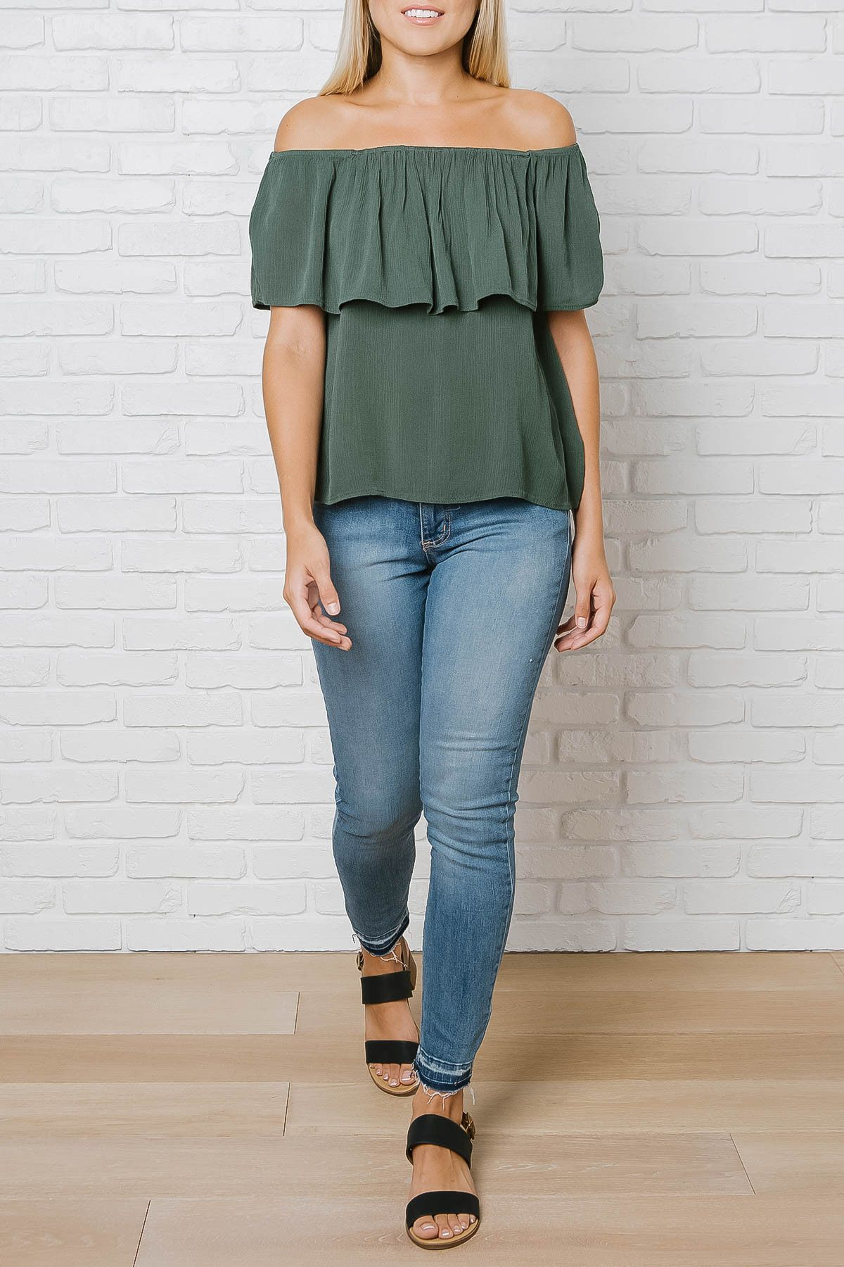 Ruffle Off-The-Shoulder Blouse in Olive