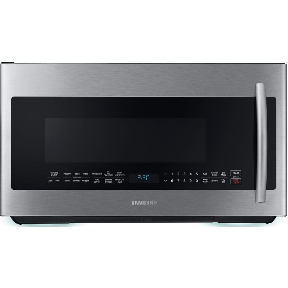 Samsung 30 In W 2 1 Cu Ft Over The Range Powergrill Microwave With Sensor Cook In Fingerprint Resistant Stainless Steel Me21k7010ds The Home Depot Range Microwave Samsung Black Stainless Microwave