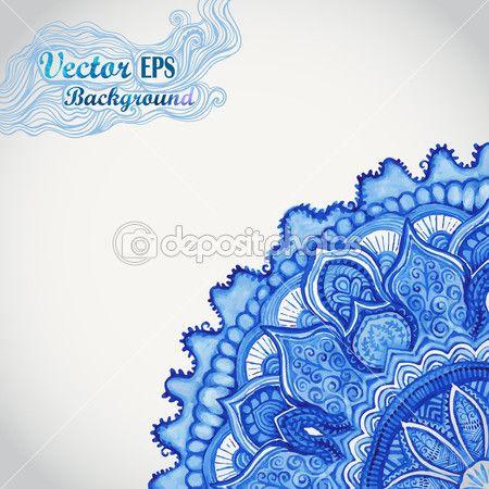 Gjel vecteur de blanc et bleu napperon coin ajour fond de cercle avec - Motif oriental a imprimer ...