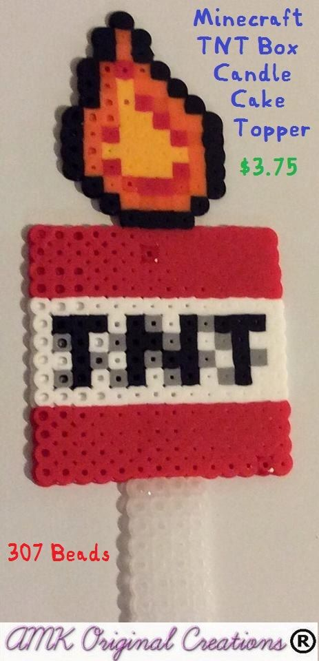 minecraft tnt box candle cake topper perler bead sewing. Black Bedroom Furniture Sets. Home Design Ideas
