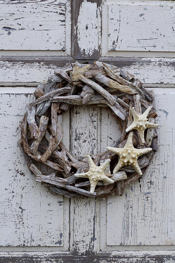 Photo of Large Chunky Nautical Driftwood Wreath, Coastal Wreath, Beach Wreath, Coastal Decor, Beach House Decor, Summer Wreath, Seaside Wreath