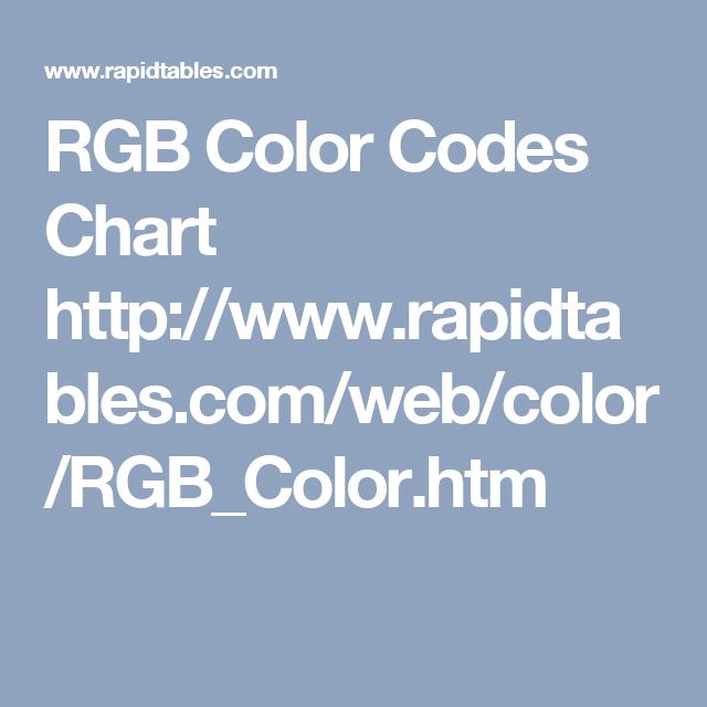 Rgb Color Codes Chart HttpWwwRapidtablesComWebColor