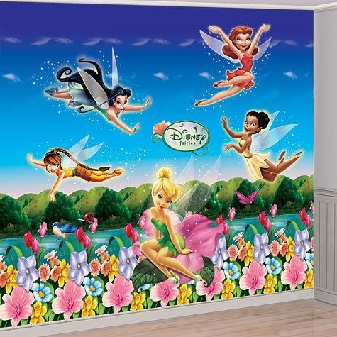 Disney fairy fairies tinkerbell birthday party wall mural decorating