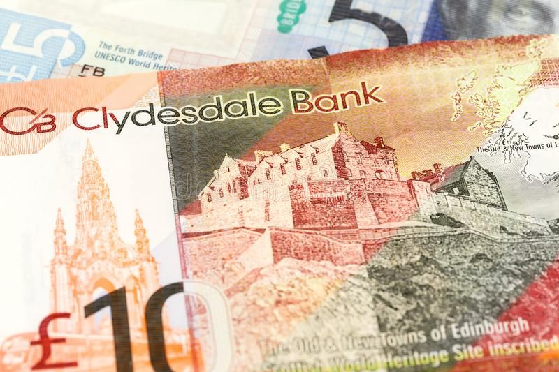 Detail Of 5 And 10 Pounds Sterling Notes Issued By Clydesdale Bank
