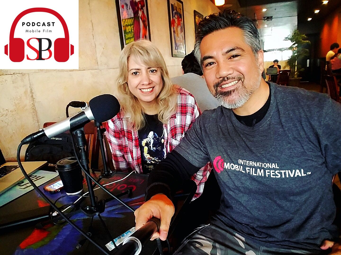 SBP Podcast host Susy Botello with guest Aaron Nabus in San Diego.