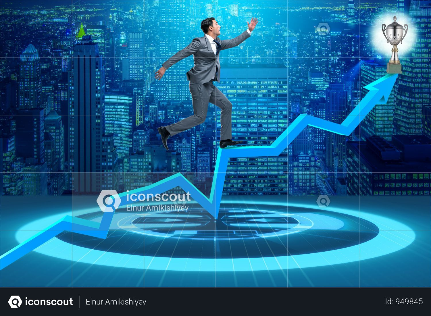 Premium Businessman Running Towards Prize Cup Trophy Photo Download In Png Jpg Format Business Man Online Stock Trading Photo