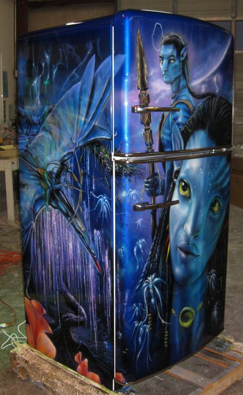 airbrushed avatar fridge painted by mike lavallee of killer paint. Black Bedroom Furniture Sets. Home Design Ideas