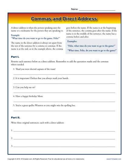 commas and direct address k12 punctuation worksheets worksheets printable worksheets. Black Bedroom Furniture Sets. Home Design Ideas