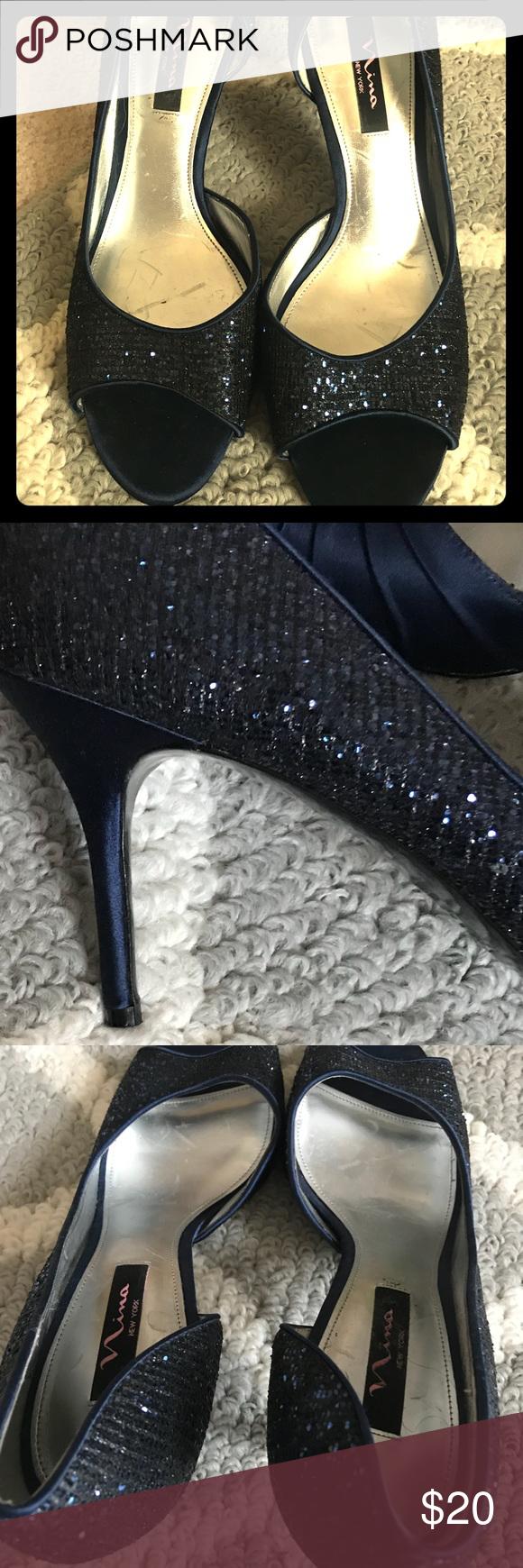 Nina navy blue glittery heels in my posh picks pinterest