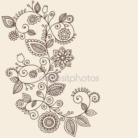 Henna tatoeage paisley bloemen en wijnstokken doodles vector — Stockillustratie #8693185