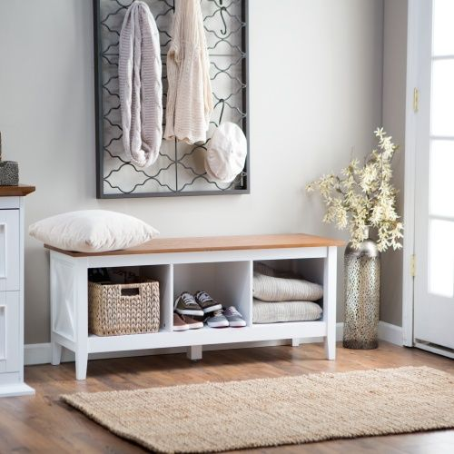 Belham Living Hampton Indoor Storage Bench - White/Oak - Indoor ...